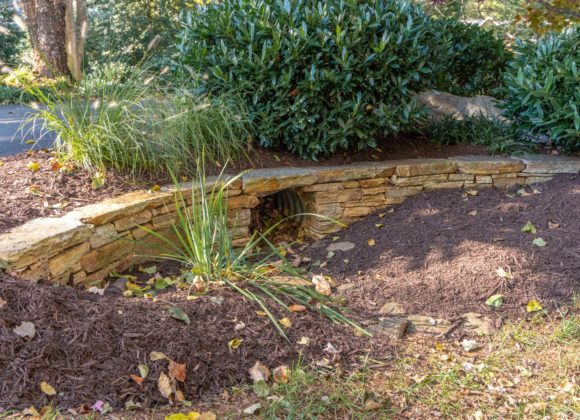 decorative retaining wall for ditch drain