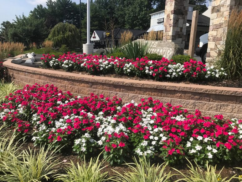 Commercial landscaping in Clarksville with flower bed and retaining wall