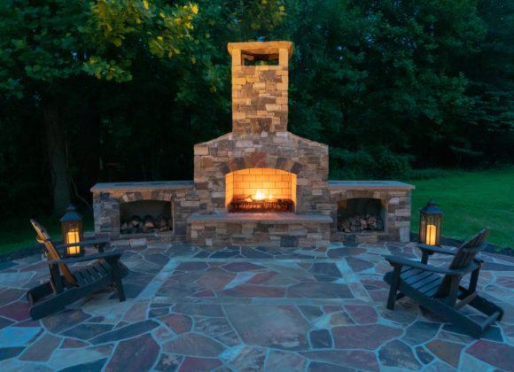 custom fireplace for backyard patio