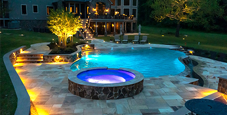 Hardscaping in Sykesville backyard for pool patio